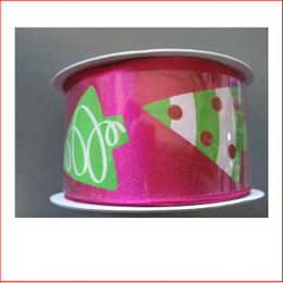 Pink Ribbon with Modern Christmas Tree Print- 38mm is a modern/contemporary style ribbon which is great for decorating colour christmas displays