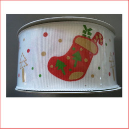 White Ribbon with Red Stocking Print- 38mm is a beautiful white and red coloured ribbon that reflects well with your red and white decorations, christmas baubles.
