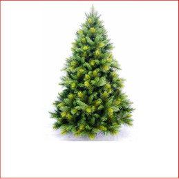"""Oxford Spruce Christmas Tree 2.59m This realistic artificial Christmas tree which looks and feels like a real tree with tips so varied in size it will appear you have somehow removed a Spruce from the forest.    Place twinkling lights into the Oxford and your tree is complete even if you do not use any other decorations.    The branches have 4"""" cone shaped tips with a narrow lighter colour tip on the ends and 2½"""" softer cone shaped tips mixed into the tree.     Available in 3 sizes.   Branches reach off the floor.    Colour: Dark Green"""