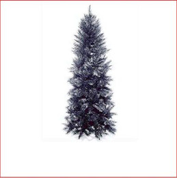 "Pencil Vienna Spruce Christmas Tree 1.98m Black This is a slimmer version of our most popular tree.   Featuring a pencil shape with 3¼"" tufted tips, the effect is a soft natural looking tree.   Perfect for those who like our most popular Christmas tree, the Vienna Spruce, but can't accommodate its size. Decorate with ease.    Branches reach close to the floor.     Colour:  BLACK (with shimmer cut)"