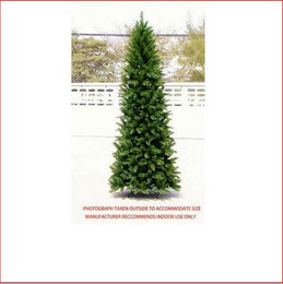"Pencil Vienna Spruce Christmas Tree 2.74m This is a slimmer version of our most popular tree.   Featuring a pencil shape with 3¼"" tufted tips, the effect is a soft natural looking tree.   Perfect for those who like our most popular Christmas tree, the Vienna Spruce, but can't accommodate its size. Decorate with ease.    Branches reach close to the floor.    Colour: Hunter Green (slightly lighter than dark green)"