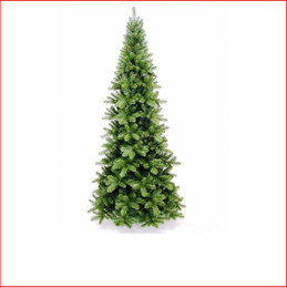 "Pencil Pine Christmas Tree 2.28m The inspiration for the Pencil Pine Downswept Christmas tree originated right here in Australia. The Athrotaxis cupressoides is a species endemic to Tasmania and its common name is Pencil Pine, although it's not a member of the Pine family but rather an evergreen coniferous tree. Growing in high altitudes the narrow conical shape and their downward-drooping limbs, help them shed snow.  With this in mind the Pencil Pine Downswept Christmas tree was developed as the perfect Christmas tree for smaller spaces. Easy to decorate with branches sweeping close to the floor the larger sizes are well suited to stairwells and entrances. This slim line design features 2½"" wide tips and down swept branches making it particularly easy to decorate. Colour: Dark Green"