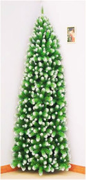 """Grand Empress Corner Tree 7.5ft Like our Half Christmas Tree. This model goes one better and utilises only a corner.  It still appears to look like a full Christmas tree.  The frosted tree is from our Grand Empress range Ideal for store, club, hotel and shopping centres. Made with a very plush, soft needle with 2½"""" mature dark green tips frosted and 1½"""" new growth green needles frosted. Available in 1 size.   Branches reach close to the floor."""