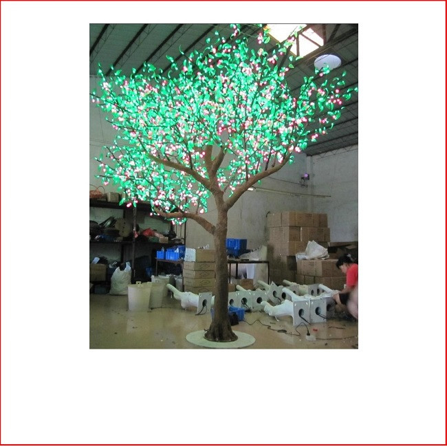 25cm Large Outdoor Commercial Christmas Tree Bauble: LED Peach Tree Green/Pink 3m