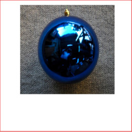 100mm Christmas Bauble - Blue - Wired Glossy