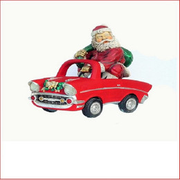Polyresin Santa on Car, great table decoration or simply an addition to your display, great present for kids, one that they will remember