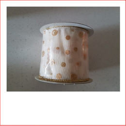 Christmas Ribbon Yuletide White Ribbon with Gold Dots 63mm looks great with the final touch of the gold dots.