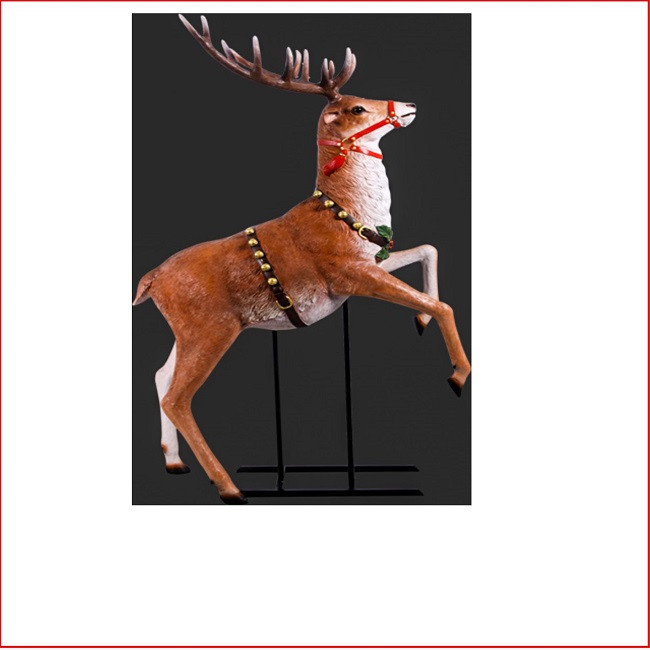 25cm Large Outdoor Commercial Christmas Tree Bauble: The Polyresin Rearing Reindeer For Sleigh Jumbo