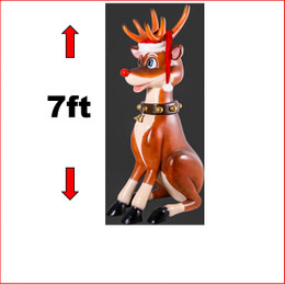 The design Poly-resin Funny Reindeer 7ft comes with a Santa's hat as well. A great compliment to any Christmas scene it will definitely make an impact and add great Christmas cheer any event. Very popular for shopping centres to add a playful twist to their Christmas displays and can be hung directly from ceiling. Large Christmas decor at its best, our range of large Toy Soldiers or Nutcrackers would compliment this item beautifully. The Funny Reindeer Hanging Sitting is well loved by kids and adults alike as they adore his cute face and Christmas cheer.