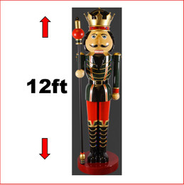 The Polyresin Nutcracker 12ft with Scepter in Right Hand, a beautiful Nutcracker of all Nutcrackers. Massive Polyresin Statue with extensitive detail. Looks great in your christmas display with Christmas Trees, Santa Throne, Candy Cane or if you just need to of them to keep guard of your christmas display. The  Nutcracker 12ft with Scepter in Right Hand is seen in many shopping centres and corporate window christmas display. Also available is the King Nutcracker 12ft  and the Nutcracker 12ft with Scepter in Left Hand.