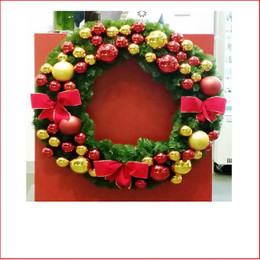 Decorated Designer Wreath, Traditional. Decorated Christmas Wreath by our team of designers at Father Christmas tailored to your colour theme and expectations. Contact us by email info@fatherchristmas.net.au or ph: 1300 455 298 for an extensive Quote on your requirements.