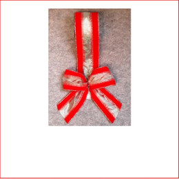 Christmas Ribbon-Red Velvet with Sheer Silver Strip -65mm, Single bows can be pre made by our christmas designers, available and sold in quantities of 10
