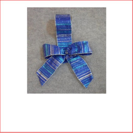 Christmas Ribbon Blue with Silver, Blue & Turquoise Glitter Stripes-60mm, Single bows can be pre made by our christmas designers, available and sold in quantities of 10