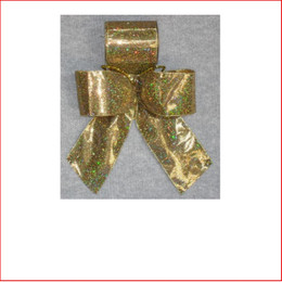 Christmas Ribbon Gold Lame with Sparkles-100mm, Single bows can be pre made by our christmas designers, available and sold in quantities of 10