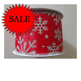 Ribbon Red Satin-Silver Glittered Snowflakes -65mm