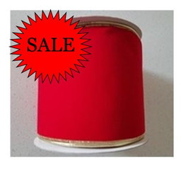 Ribbon Red Velvet with Gold Trim -150mm