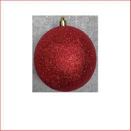 70mm Glittered Christmas Bauble -Red-Wired