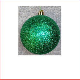100mm Glittered Christmas Bauble -Green-Wired