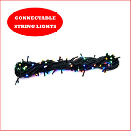 1 String x 100 LED Lights Connectable Multi Colour ( PLEASE NOTE ADAPTOR AND TRANSFORMER SOLD SEPARATELY ), A great design where you can connect an additional 9 strings of 100 Led's in a straight line 10 x String LED Lights in a Straight Line Adaptor and transformer, a total length of 10 Strings consisting of 1000 LED Lights and a 100 metres of light.