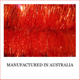 Australian manufactured 4 Ply Tinsel Garland - Red (100mm x 5.5m). Very thick and lush commercial grade tinsel made right in Australia. We cannot emphasize how beautiful this tinsel looks. Currently in very high demand for corporate clients from shopping centres, RSL's, car yards and various businesses from fruit shops to offices and building foyers. Made in Australia from quality raw materials that strengthen the garland tinsel which ensures a longer lasting product. Colours Also Available : Black, Cerise, Electric Blue, Gold, Green, Lime, Orange, Purple, Red, Royal Blue, Silver, White