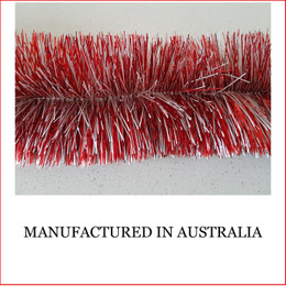 Australian manufactured 4 Ply Tinsel Garland - Red and White (100mm x 5.5m). Very thick and lush commercial grade tinsel made right in Australia.  We cannot emphasize how beautiful this tinsel looks. Currently in very high demand for corporate clients from shopping centres, RSL's, car yards and various businesses from fruit shops to offices and building foyers.  Made in Australia from quality raw materials that strengthen the garland tinsel which ensures a longer lasting product. Colours also Available: Black, Cerise, Electric Blue, Gold, Green, Lime, Orange, Purple, Red, Royal Blue, Silver, White