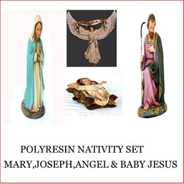 The Poly-resin Nativity sold as a set, can be situated in your Christmas barn. Dress the barn with some hay and straw to enhance the best Christmas nativity scene. Don't dream it - Theme it The Poly-resin Saint Joseph is individually hand crafted from Fibreglass/Resin which enables a hard durable product, the resin statue will last for many years.Products may differ slightly as they are hand crafted.