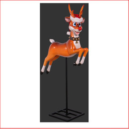 FUNNY REINDEER ON BASE The new design Poly resin Funny Reindeer on Base comes with a santa's hat as well. A complete scene where there is no more to do in your christmas display. Definately great to have at an event or christmas party as the kids and adults will enjoy the christmas cheer. Very popular for shopping centres where they can be hung straight out of the ceiling. Large christmas decor at its best, nice to fit in with this Funny Reindeer on Base would be our range of large Toy Soldiers or Nutcrakers. The Funny Reindeer on Base is very loved by kids and adults as they adore his cute face. The Polyresin Funny Reindeer on Base is hand crafted from Fibreglass/Resin which enables a hard durable product, the resin statue will last for many years.