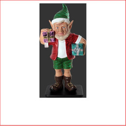 The new design Polyresin Christmas Elf with two gifts 3ft, just beautiful plenty of fun, cute and adorable, also available is the christmas sunny elf with two gifts 2ft and elf with two gifts 2ft as well, beautifully designed an aussie christmas elf plenty of fun to your display, the kids will love all the range of elfs, they are so cute!! Lovely christmas piece for the kids bedroom. The Polyresin Christmas Elf with two gifts 3ft is hand crafted from Fibreglass/Resin which enables a hard durable product, the resin statue will last for many years.