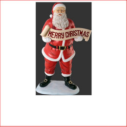 Polyresin Santa with Merry Christmas Banner 145cm, a beautiful centre piece in your christmas display, large christmas decor at its best, plenty of fantastic detail on the sack where the presents are showing. Santa Clause is coming to town with his christmas sack full of presents, a must for your christmas display.