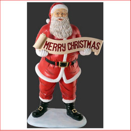 Polyresin Santa with Merry Christmas Banner 5ft is a beautiful centrepiece in your Christmas display. Traditional and yet stylish this is large Christmas decor at its best with plenty of fantastic detail giving Santa true expression.