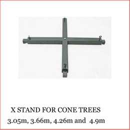 X Stand for Cone Tree UNIVERSAL STAND FOR SIZES 10FT -16FT CONE TREES Specifically produced for the Cone Trees 3.05m – 4.90 when using in an outdoor environment. This unique expandable stand clips over the bottom section of our Modular Cone Tree frame and can then be further secured with sand bags or cement blocks to make the tree as safe as is possible to cater for different weather conditions* *We cannot guarantee that during severe weather the tree will not blow over but the cross stand will help keep the tree secure. Structural Engineers advice on the wind loading requirement should be sought when erecting in an outdoor public area.