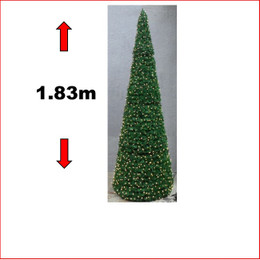 1.83m Pre-lit Cone Tree with 900 LEDs