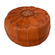 Moroccan Pouf Tan Leather