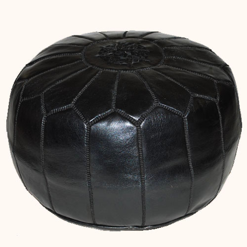 Moroccan Leather Pouf Black Sheherazade 174 Home