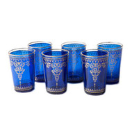 Moroccan Tea Glasses, Blue Set of 6