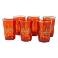 Moroccan Tea Glasses, Orange Set of 6