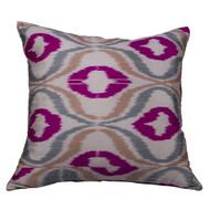 Ikat Pillow, Pink & Grey