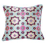 Moroccan Zellij Fabric Throw Pillow , Pink