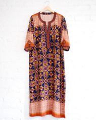 Moroccan Blue & Orange Caftan