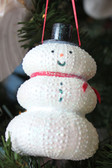 White Sea Urchin Snowman Christmas Ornament