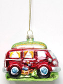 Glass VW Style Van Ornament with Surfboard