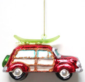 Glass Woody with Surfboard Ornament