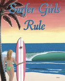 Surfer Girls Rule Metal Sign
