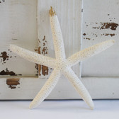 Large White Finger Starfish Glitter Ornament - Made in Huntington Beach, California, USA