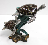 Small Double Turtle with Seaweed Figurine