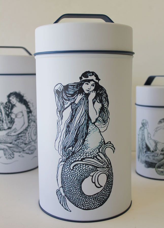 Mermaid Cylinder Tin Cans Nautical Canisters Beach