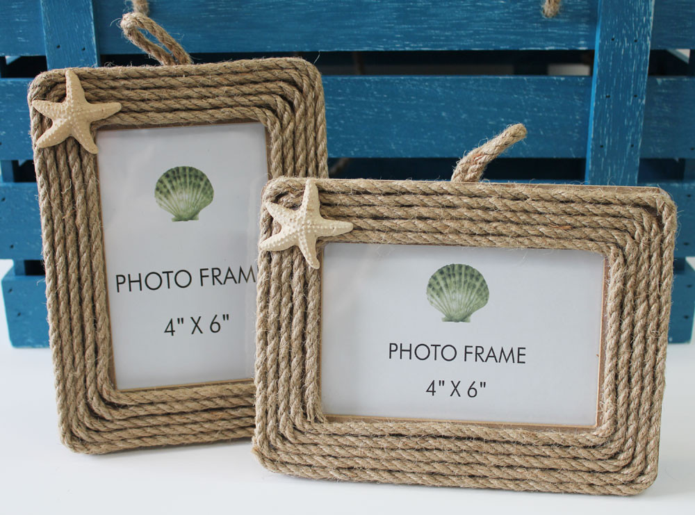 nautical rope 4x6 pictures frames with starfish california seashell company. Black Bedroom Furniture Sets. Home Design Ideas