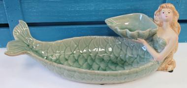 Ceramic Mermaid Bird Feeder