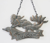 Iron Mermaids Welcome Plaque with Chain