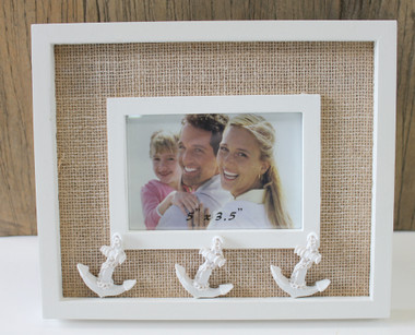 35 x 5 picture frame with white anchors - Nautical Picture Frames